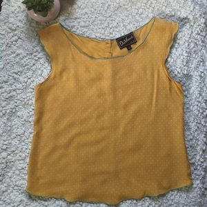 Vintage Style Canary Yellow Polka Dot Blouse